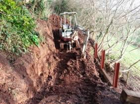 Working for Ultim8 Construction installing a Sleeper wall in Kingsbridge