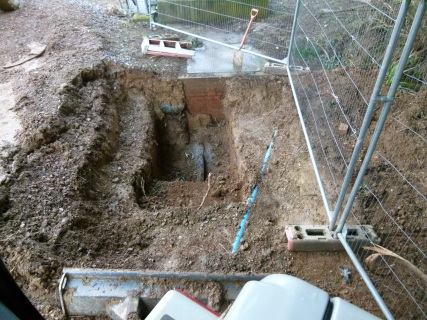 Excavation at Kingsbridge sewage works for a modification to pipework