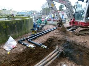 Excavation at Kingsbridge sewage works for a